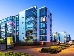 House building and city construction concept evening outdoor urban view of modern real estate homes