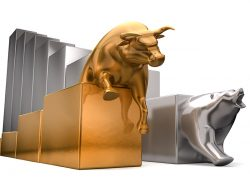 A gold bull and a platinum bear economic trends competing side by side on an isolated white background
