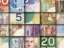 Mosaic made by pieces of Canadian banknotes