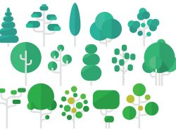 Tree Flat icon set