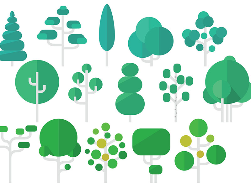 Tree Flat icon set