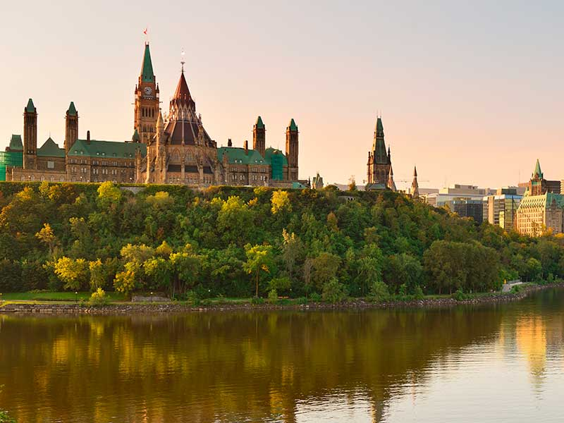 Parliament buildings at sunset
